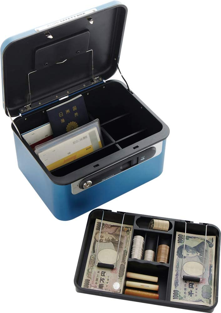 Aluminum Security Cash Box with Lock and Key (Blue)