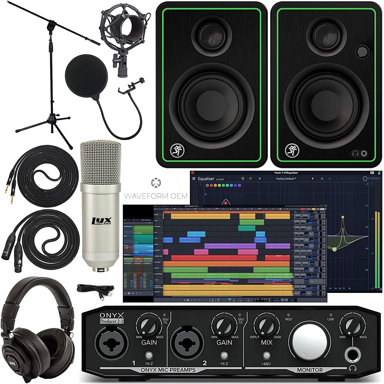 Mackie Onyx Producer 2-2 Audio/Midi interface With Pro Tools First/Tracktion Music Production Software, CR4-X Monitor Pair Condenser Studio Microphone, XLR, Headphones, Mic Stand