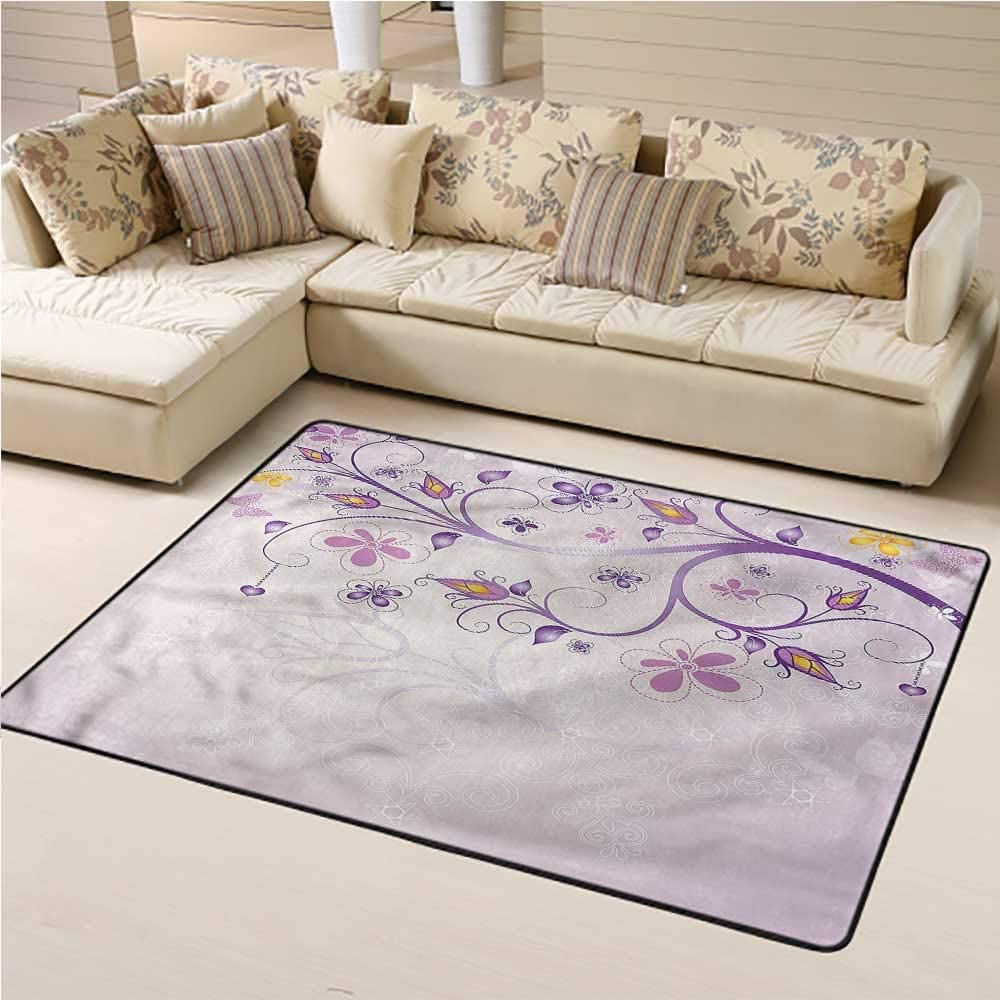 Rugs Violet, Spring Growth Branches Baby Floor Playmats Crawling Mat Geometric Trellis Pattern 5 x 8 Feet