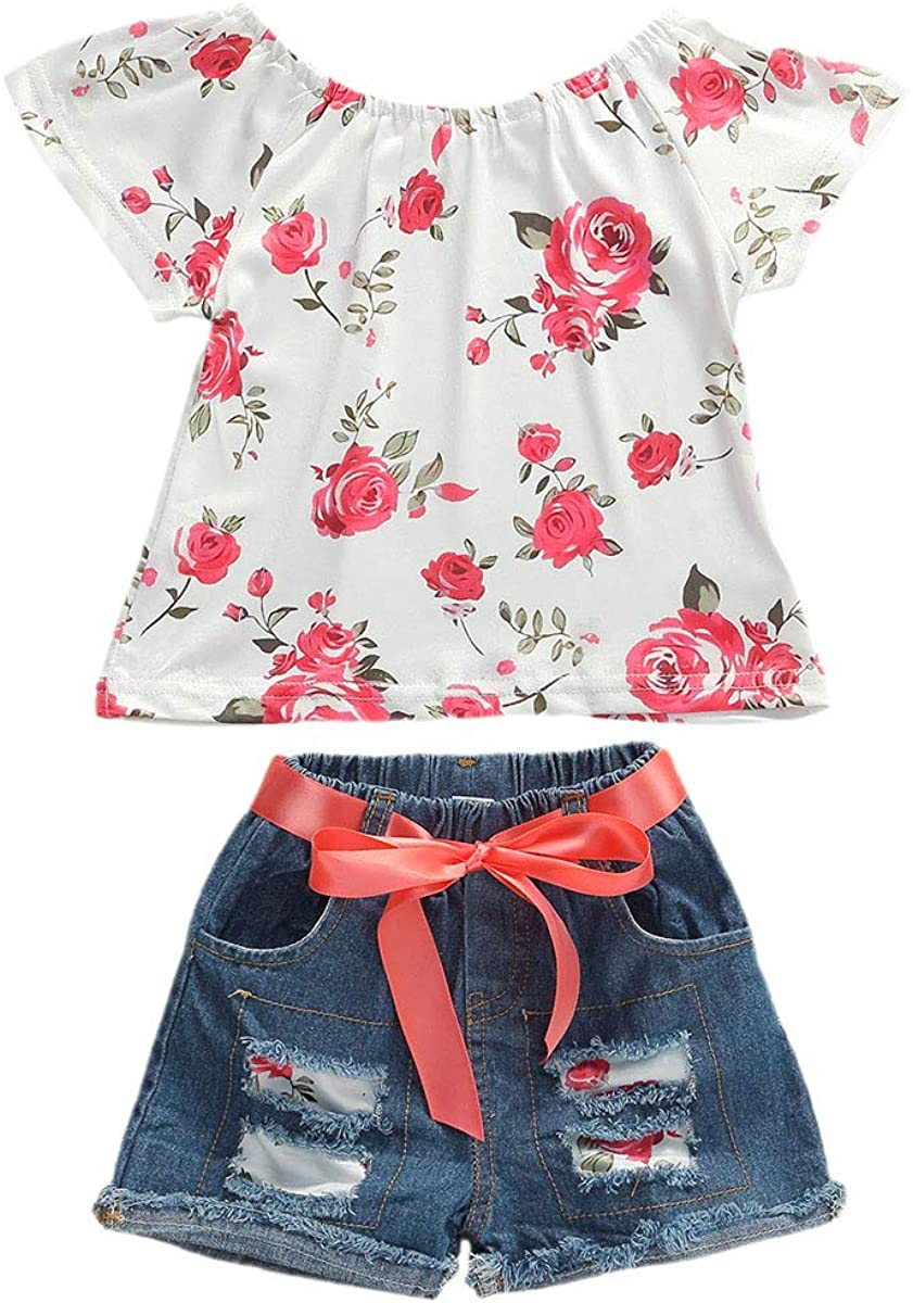 Baby Toddler Girls Floral Short Sleeve Tops T-Shirt Vest & Denim Shorts Set Kids 1T 2T 3T 4T 5T 6T Clothes Summer Outfits