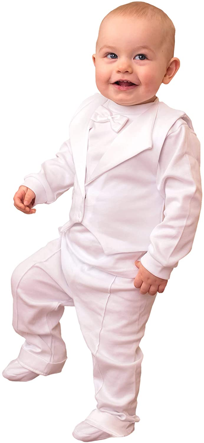 Three Snails Baby Boy 3 Pcs Set Christening Baptism Long Sleeve White Cotton Formal Outfit