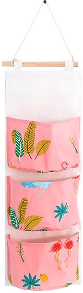 OPOO Fabric Wall Door Closet Hanging Storage Bag Cute Cotton Hanging 3 Pockets Door Hanging Organizer Pockets