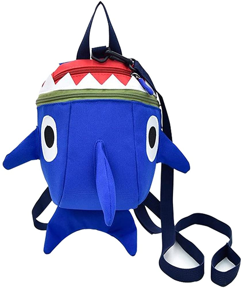 Safety Kids Leash Backpack with Harness Leash Shark for Toddlers Boys Girls-Blue