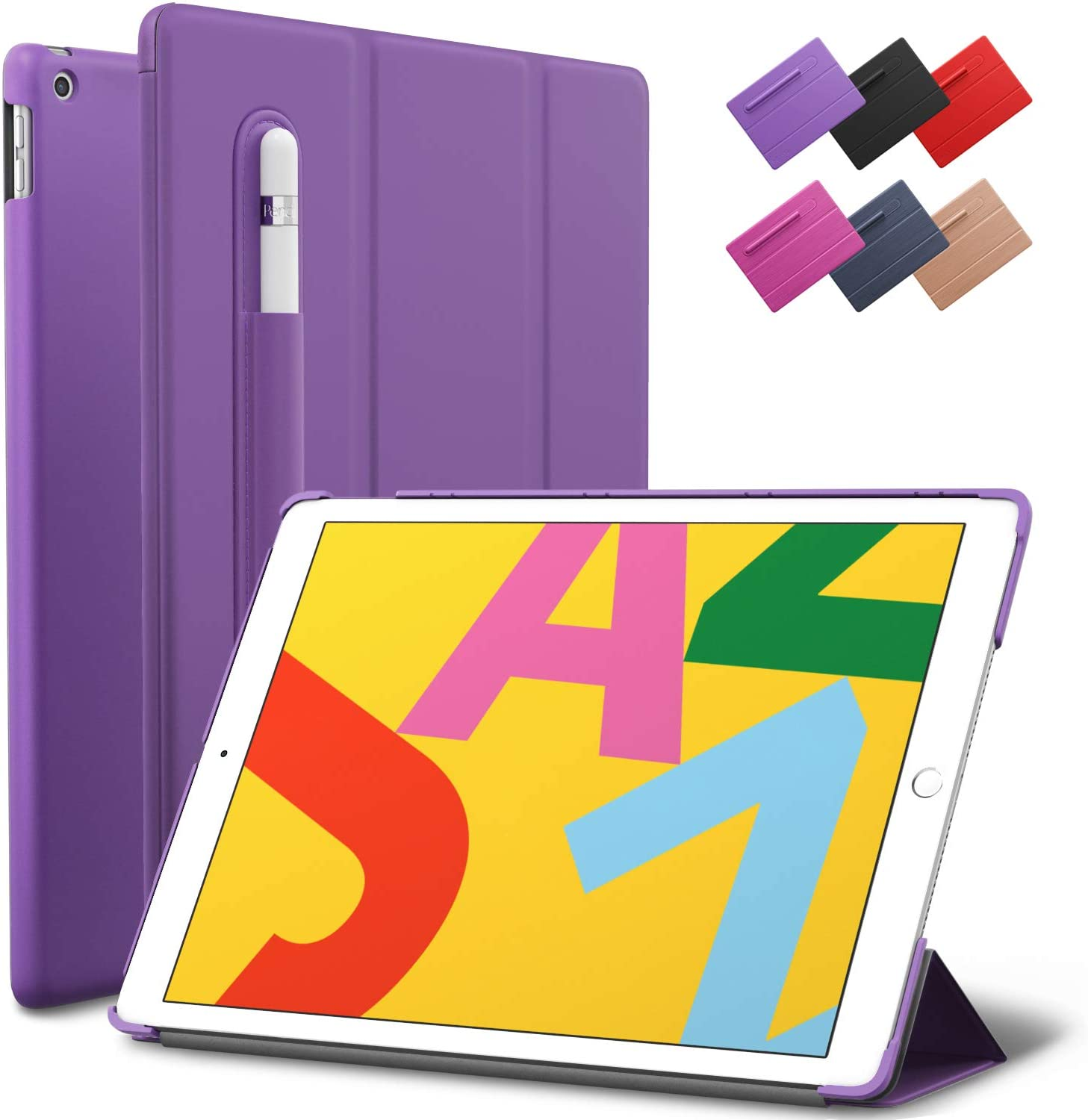 iPad 10.2-inch 2019 Case, ROARTZ Purple Slim-Fit Smart Rubber Folio Case Hard Cover Light-Weight Auto Wake Sleep Pencil Holder for Apple iPad 7th Generation Latest Model A2197 A2198 A2200