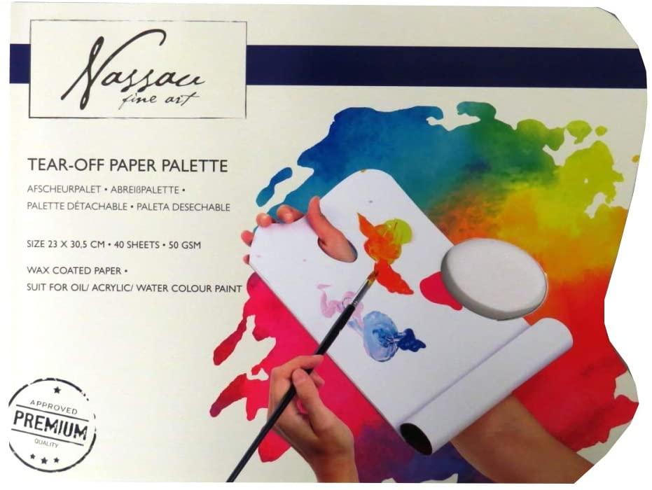 Nassau Fine Art Tear Off Paper Art Palette Pad - 40 Sheets, 50gsm Wax Coated Paper
