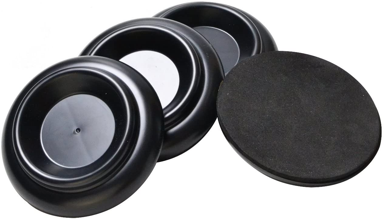 Upright Piano Caster Furniture Round Wheel Cups Gripper Set Load Bearing ABS for Upright Piano [4Pack](black)