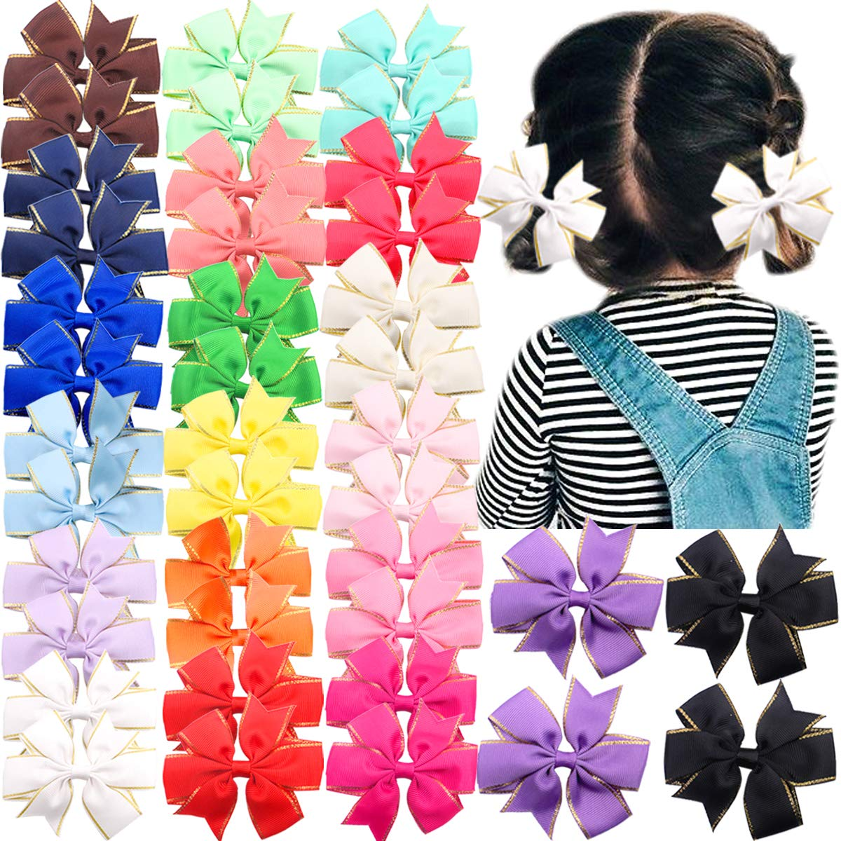 40 Pieces Baby Girl Hair Bows Clips Boutique Grosgrain Ribbon Pinwheel Bows Alligator Clips Hair Accessories for Girls Kids and Toddlers in Pairs