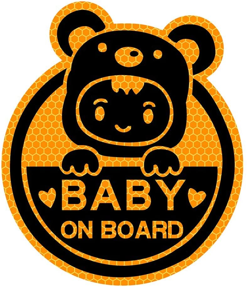 biinfu Baby on Board Sticker for Cars Girl Boys,Reflective Waterproof-Orange