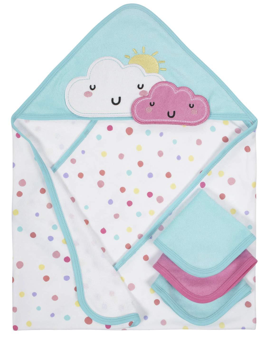 Organic Cotton Hooded Towel and Washcloths Bath Set, 4pc (Baby Girl)