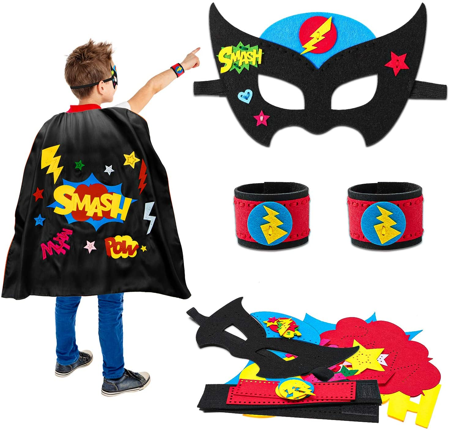 ANGOLIO Sewing Kit Superhero DIY Art Craft Set Felt Kits Learn to Sew Crafts Supplies Sew Your Own Watch Band Cloak Mask Stitch Craft Project with Clear Instructions for Beginners Boys Girls
