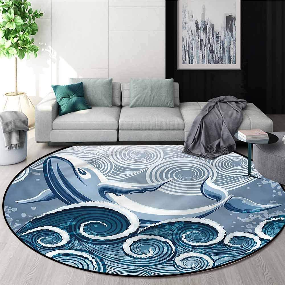 RUGSMAT Whale Small Round Rug Carpet,Stormy Wavy Spirals Animal Design Non-Slip Fabric Round Rugs for Floor Mat Carpet Round-24