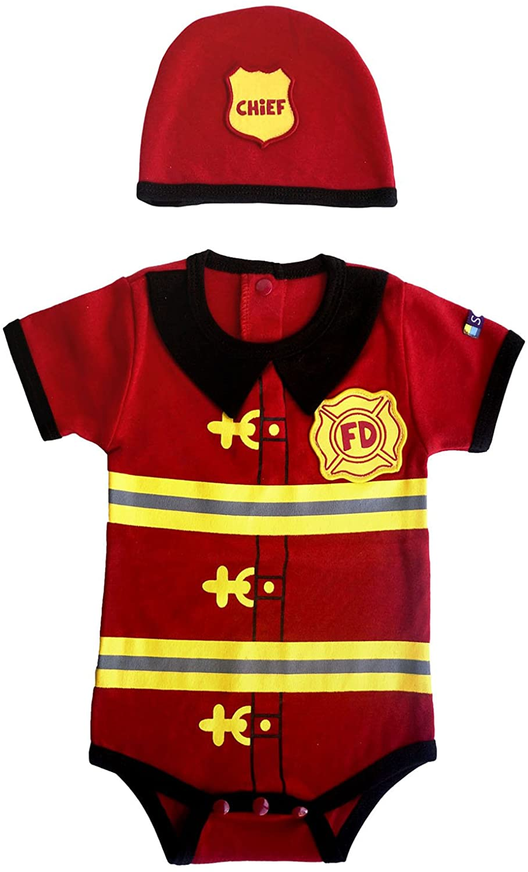 Sozo Baby Boys Firefighter Bodysuit and Hat Set