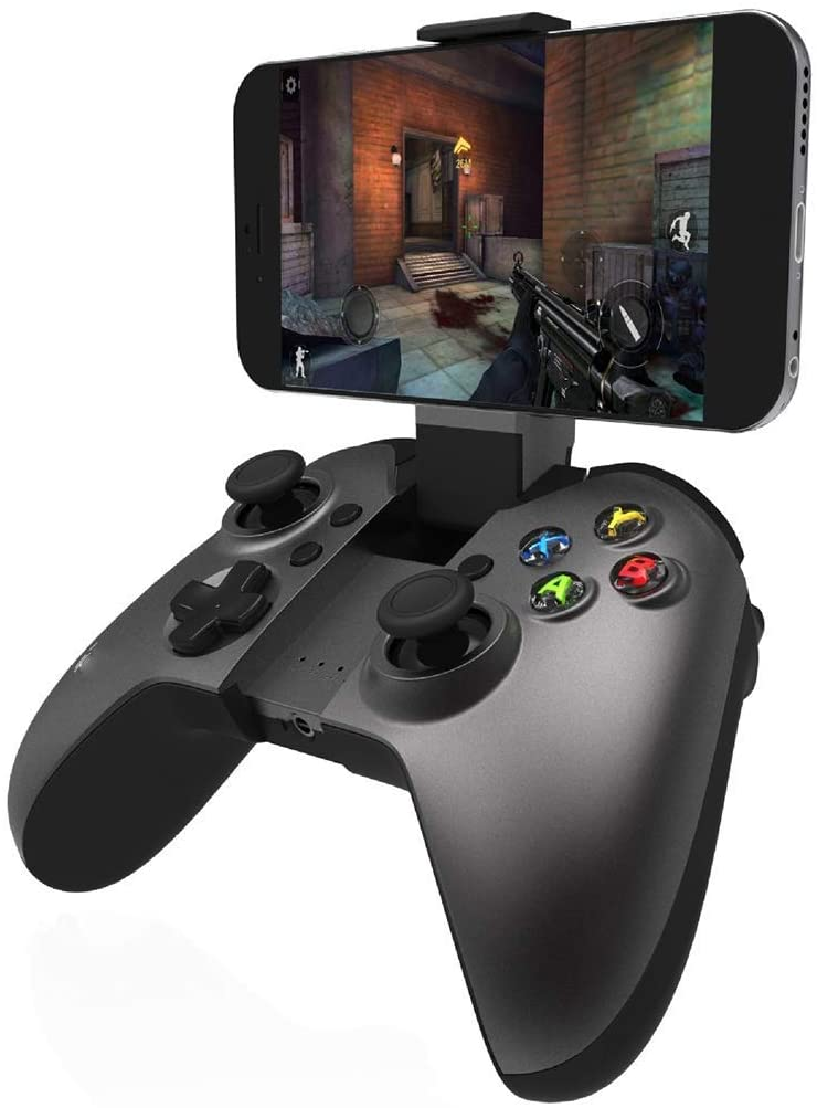 HWZDQLK Gamepad Controller, Wireless Controller, Bluetooth Gamepad Controller Joystick with Adjustable Bracket Holder for Android/iOS Smartphone, Super Responsive