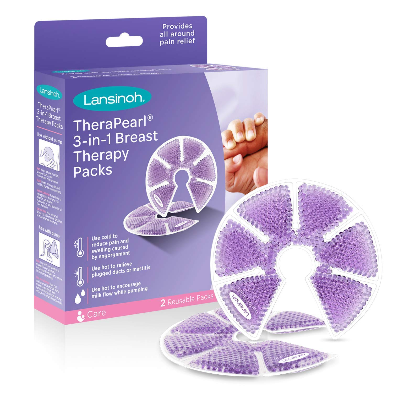 Lansinoh TheraPearl 3-in-1 Hot or Cold Breast Therapy Pack with Cover, 2 Count