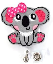 Katie the Koala - Retractable Id Felt Badge Holder - Name Badge Holder - Cute Badge Reel - Nursing Badge - Felt Badge Reel - Animal Badge