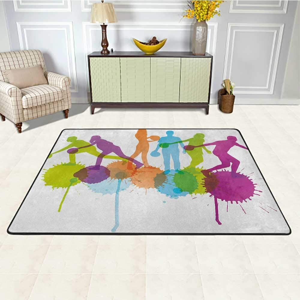 Bowling Party Living Room Rug 2' x 3', Player Silhouettes Throwing Ball with Big Color Splatters Activity Fun Theme Kids Carpet, Multicolor