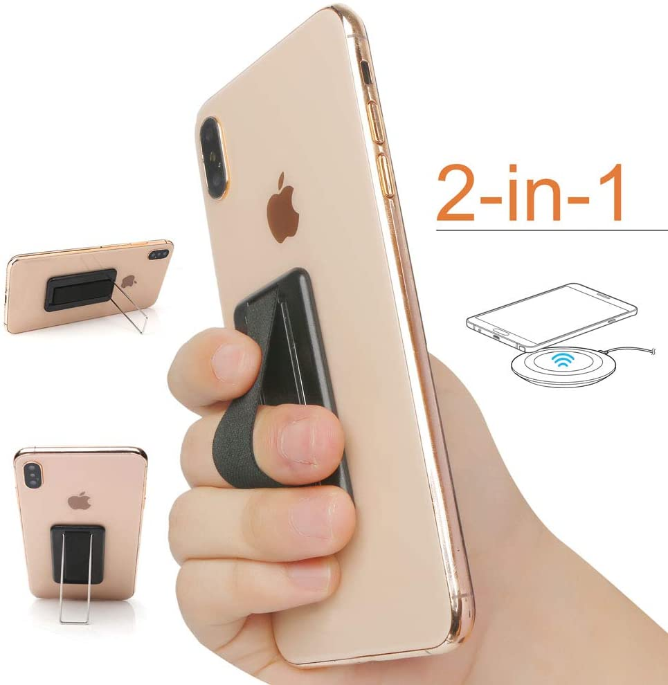 New 2-in-1 Anti-Slip Finger Strap Secure Holder and Phone Stand,Finger Grip,Sticks to Case-for Most Mobile Devices