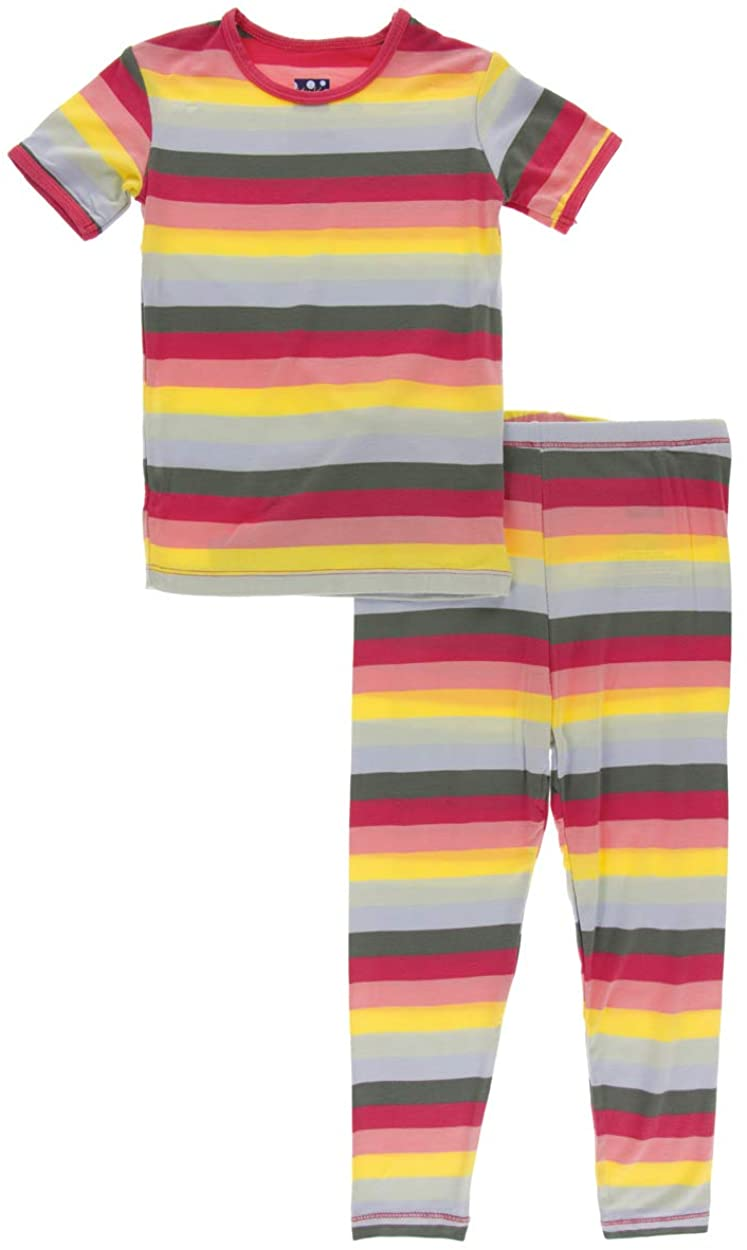 KicKee Pants Little Girls Print Short Sleeve Pajama Set - Biology Stripe, 3T