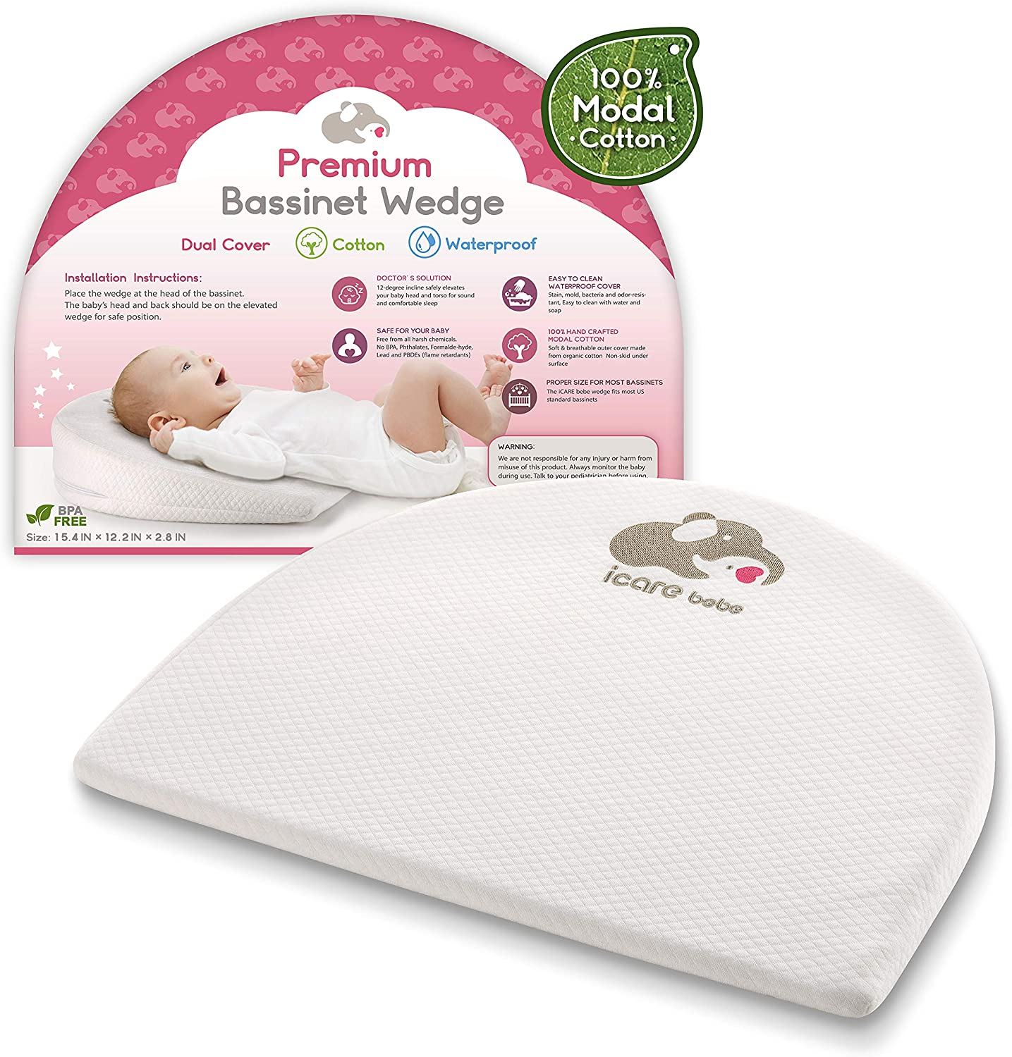 Bassinet Mattress Wedge – Baby Pillow for Acid Reflux – 12-Degree Inclined Baby Sleeper Wedge – Modal Cotton Breathable Fabric – High Density Firm Foam Head Support for Infants – Removable Cover