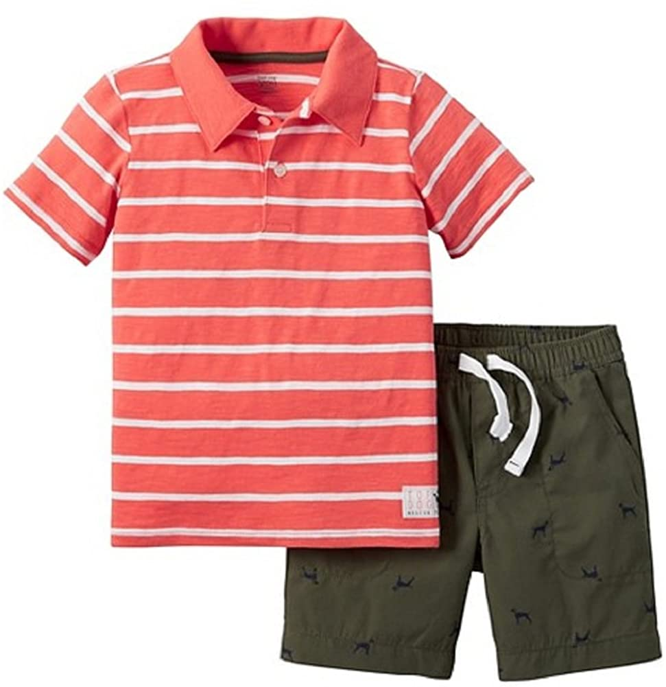 Carter's Just One You Baby Boys' 2 Piece Dog Short Set - Orange/Olive