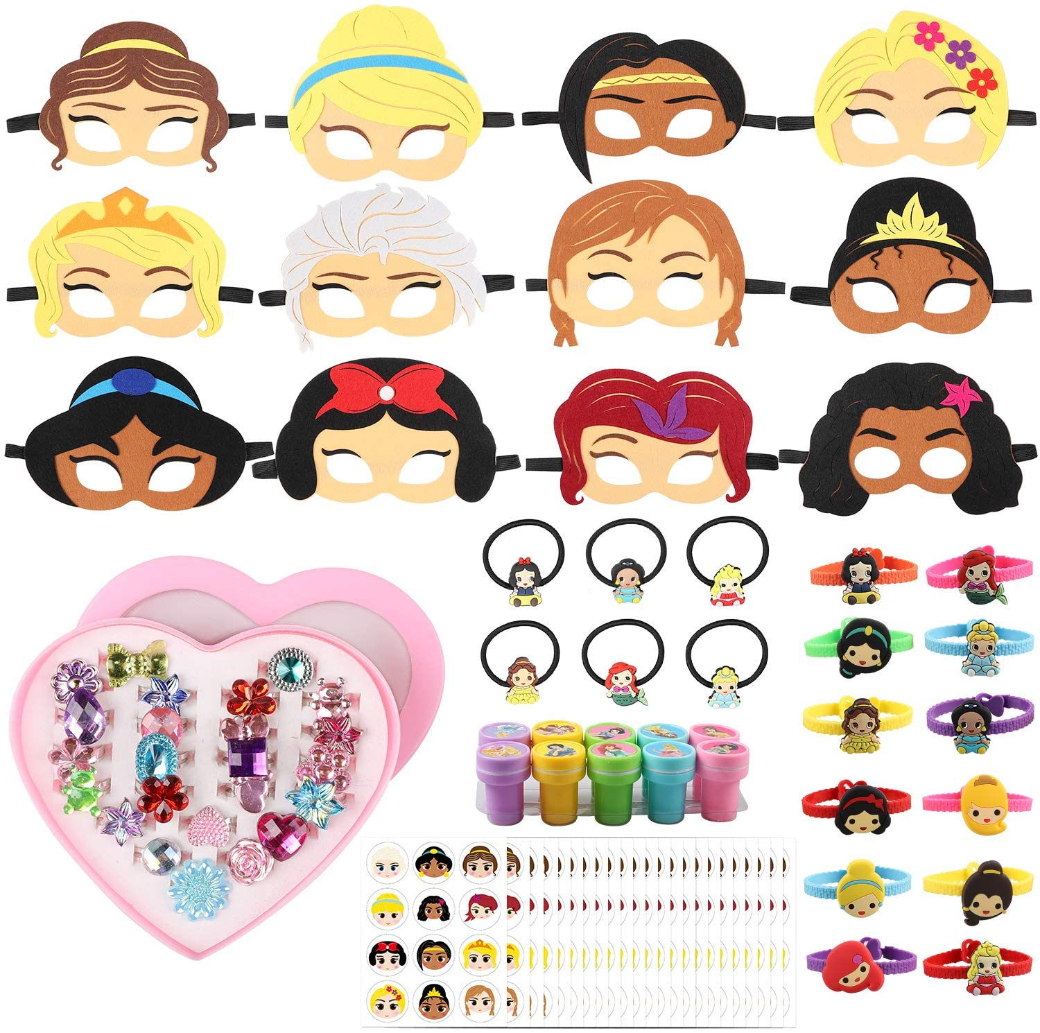 PANTIDE 88Pcs Princess Pretend Play Set- Felt Masks, Hair Elastics, Bracelets, Jewelry Rings, Self-Inking Stampers, Stickers, Princess Themed Party Favors for Girls Birthday Prizes