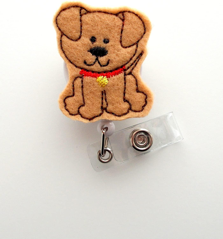 Brown Puppy - Cute Badge Holder - Nurses Badge Holder - Felt Badge Holder - Nursing Badge Holder - Cute Badge Reel - RN Badge Reel - Teacher Badge - Badge Clip - Badge Pull
