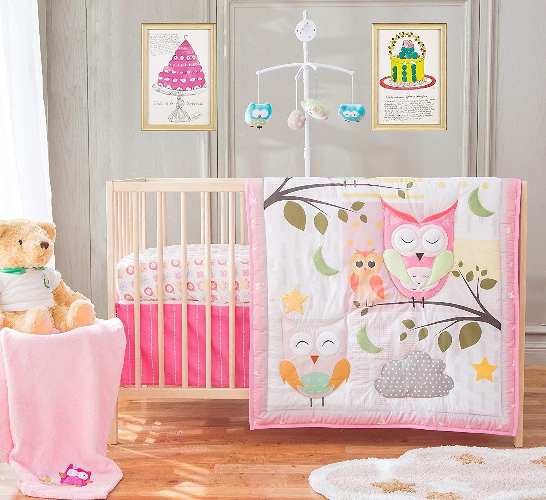 HESEAM Sweeties Owl 5 Piece Crib Bedding Set