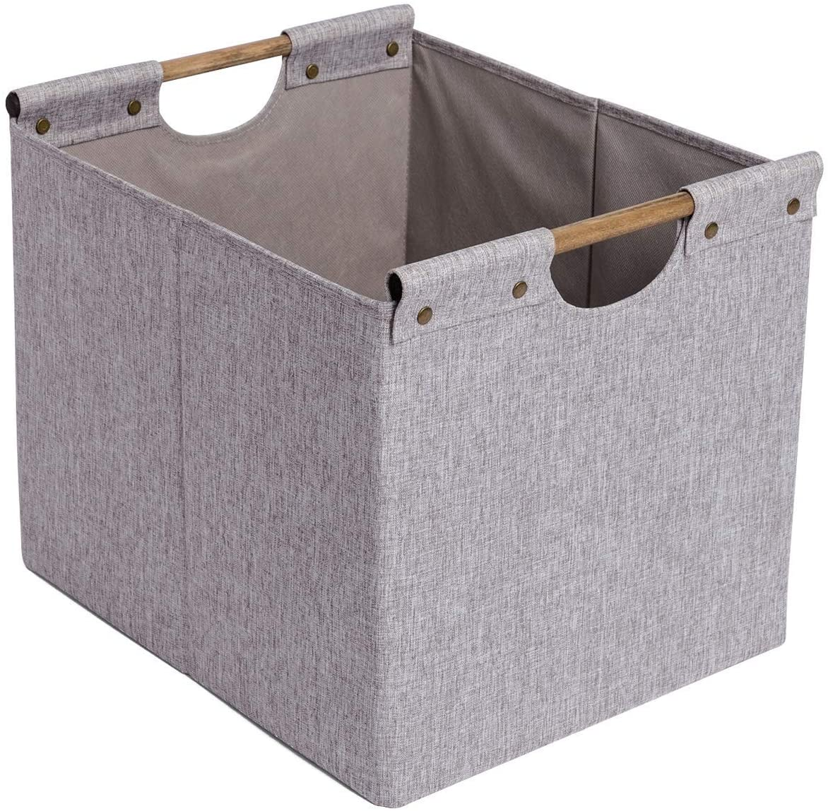 CAMEL CROWN Collapsible Storage Basket Organizer Bins Handles Box Accessories Laundry Cube for Home Office Nursery Kids (Grey-03, 1)