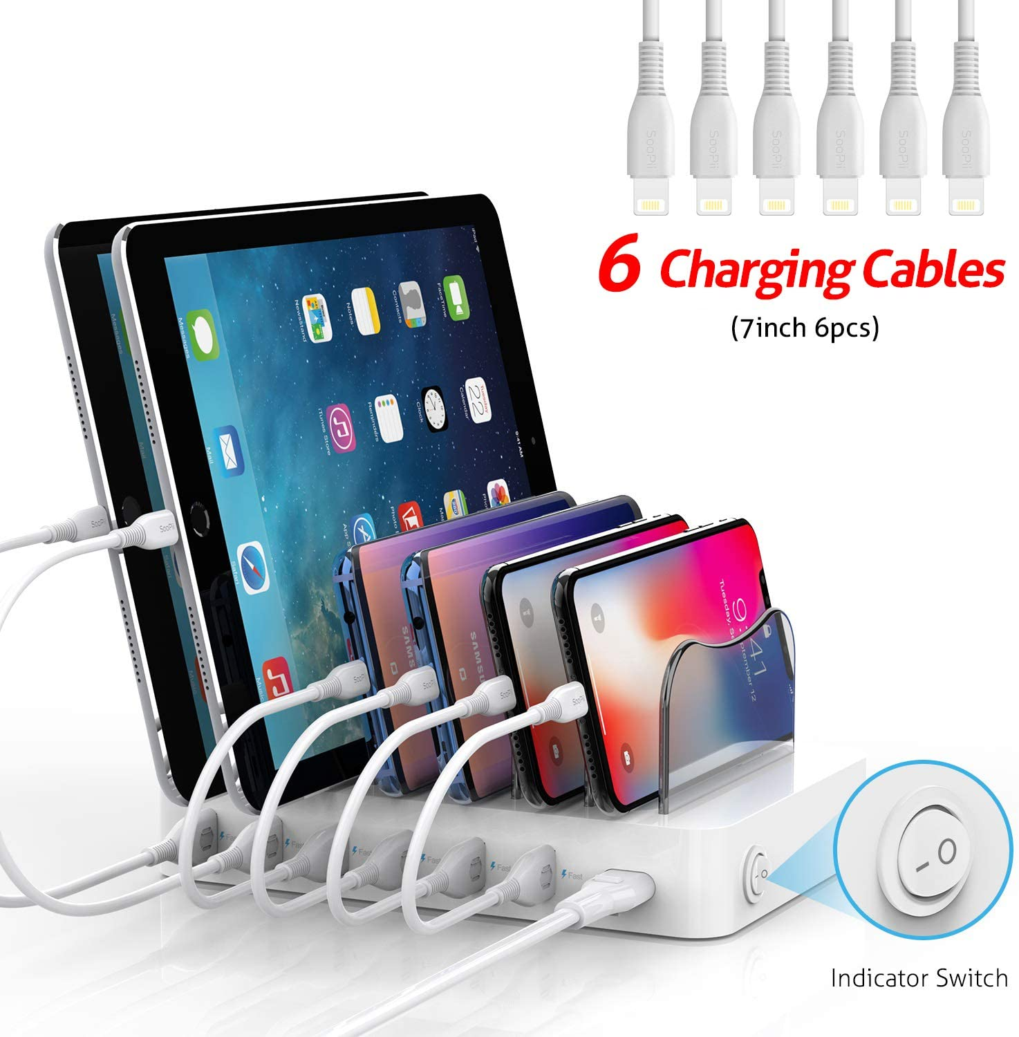 SooPii Premium 6-Port USB Charging Station for Multiple Devices, 6 Charging Cables Included, Compatible with Apple iPad iPhone iPod, for Phones, Tablets, and Other Electronics, White