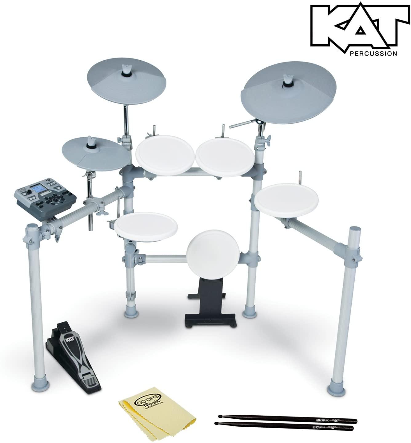 KAT Percussion High Performance KT2 Digital Drum Set - Electronic Drum Set Includes GoDpsMusic Polish Cloth & Vic Firth/GoDpsMusic 5a Drumsticks