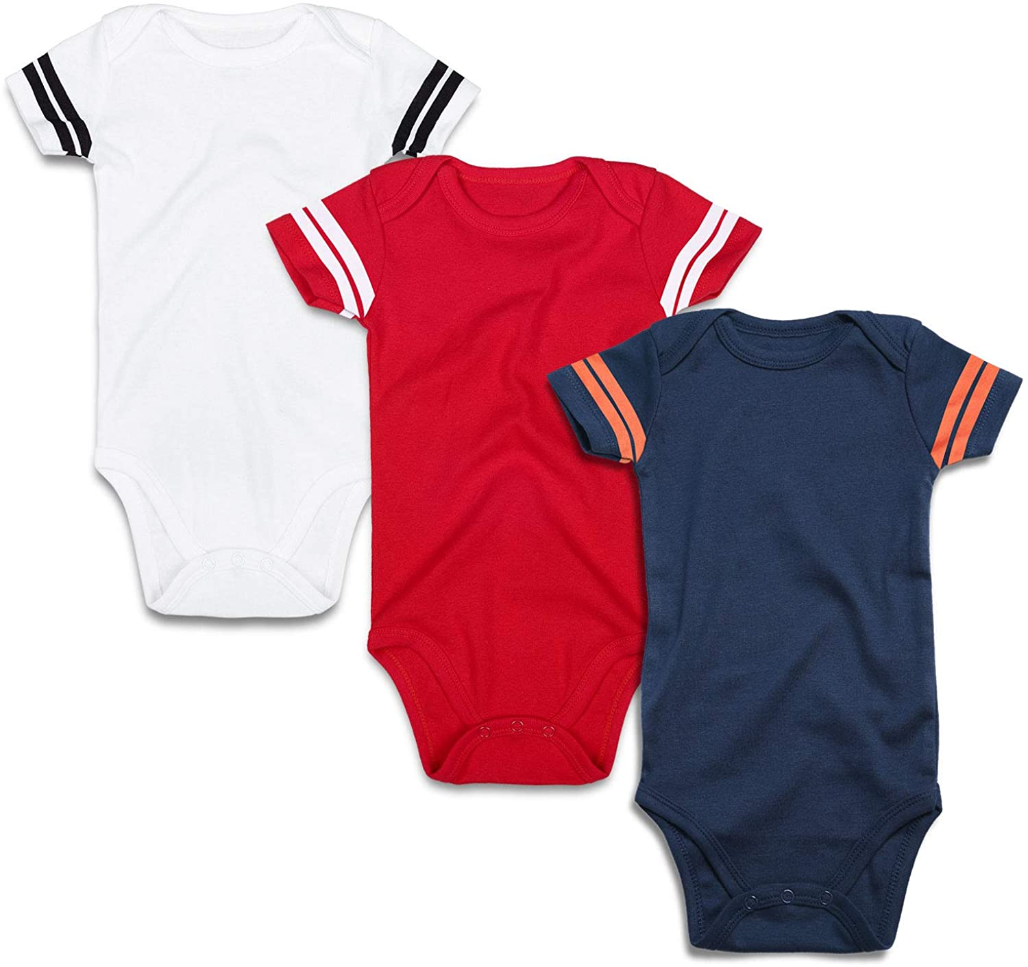 ROMPERINBOX Infant Solid Baby Football Sport Jersey Bodysuits 3 Pack 0-24 Months
