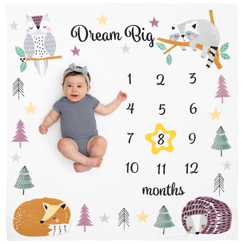 Organic Baby Monthly Milestone Blanket Neutral - Dream Big Months Picture Blanket with Bib + Month Marker - Boy or Girl Milestones, Newborn to 12 Months, Woodland Nursery Décor, Animals, Unisex