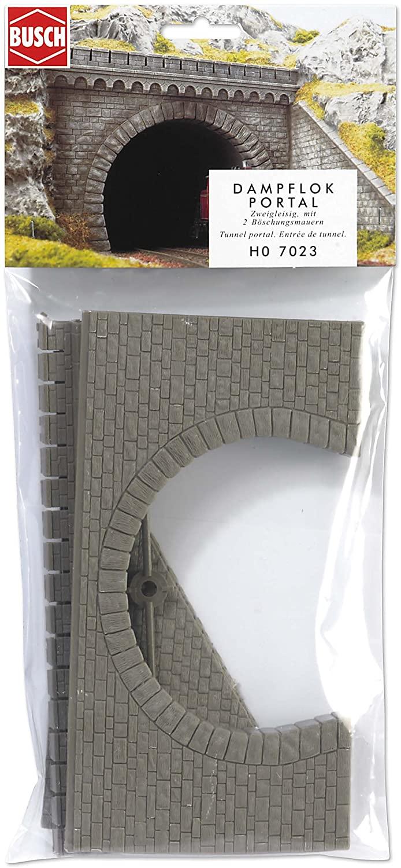 Busch 7023 Tunnel Portal with Wings 2trk HO Scenery Scale Model Scenery