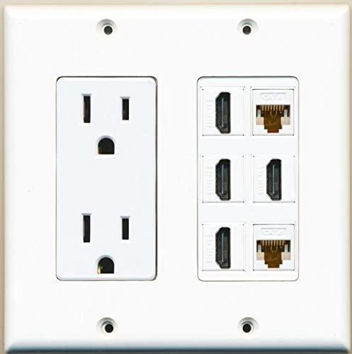 RiteAV Power Outlet + 4 Port HDMI x 2 Cat6 RJ45 Ethernet Jack Wall Plate White