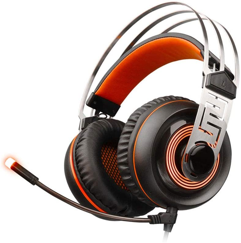 HUANGDA Gaming Headset Gaming Headset Headset 7.1 Channel Computer E-Sports Headset with Mai Microphone Headphones PC (Color : Black+Orange, Size : USB+3.5MM)
