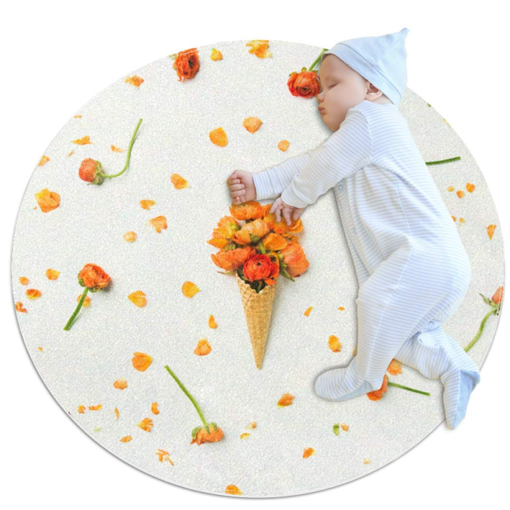 Crawling Mat Rose Ice Cream Petals Nursery Rug Anti-Slip Baby Rug Small for Baby Infants Toddlers 27.6x27.6in