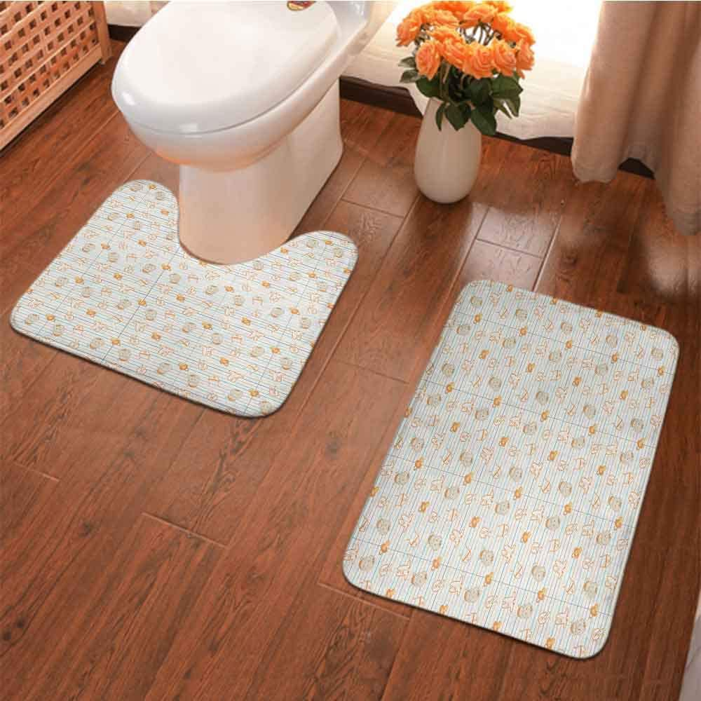 Baby, 2 Pcs Toilet Bath Mat Set Cute Infant Cartoon with Various Clothing Items on Notebook Design Lines Pacifiers U-Shaped Contour Rugs Extra Soft Shaggy Absorbent Machine Washable Multicolor