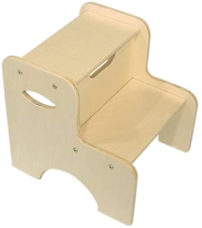 KidKraft Wooden Two-Step Children's Stool with Handles - Natural