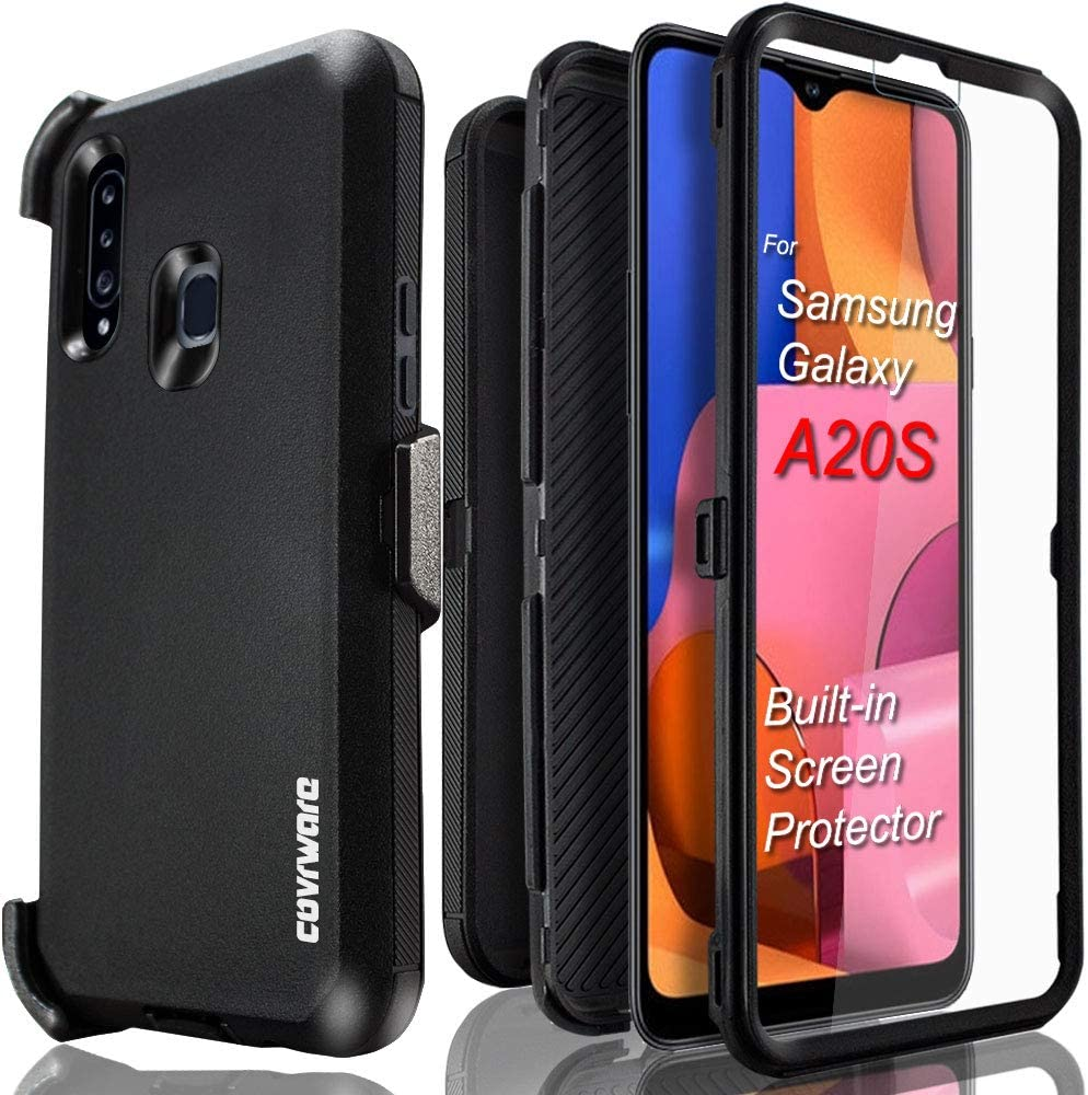 Samsung Galaxy A20S (A207M) Case, COVRWARE [Tri Series] with Built-in [Screen Protector] Heavy Duty Full-Body Triple Layers Protective Armor Holster Case, Black