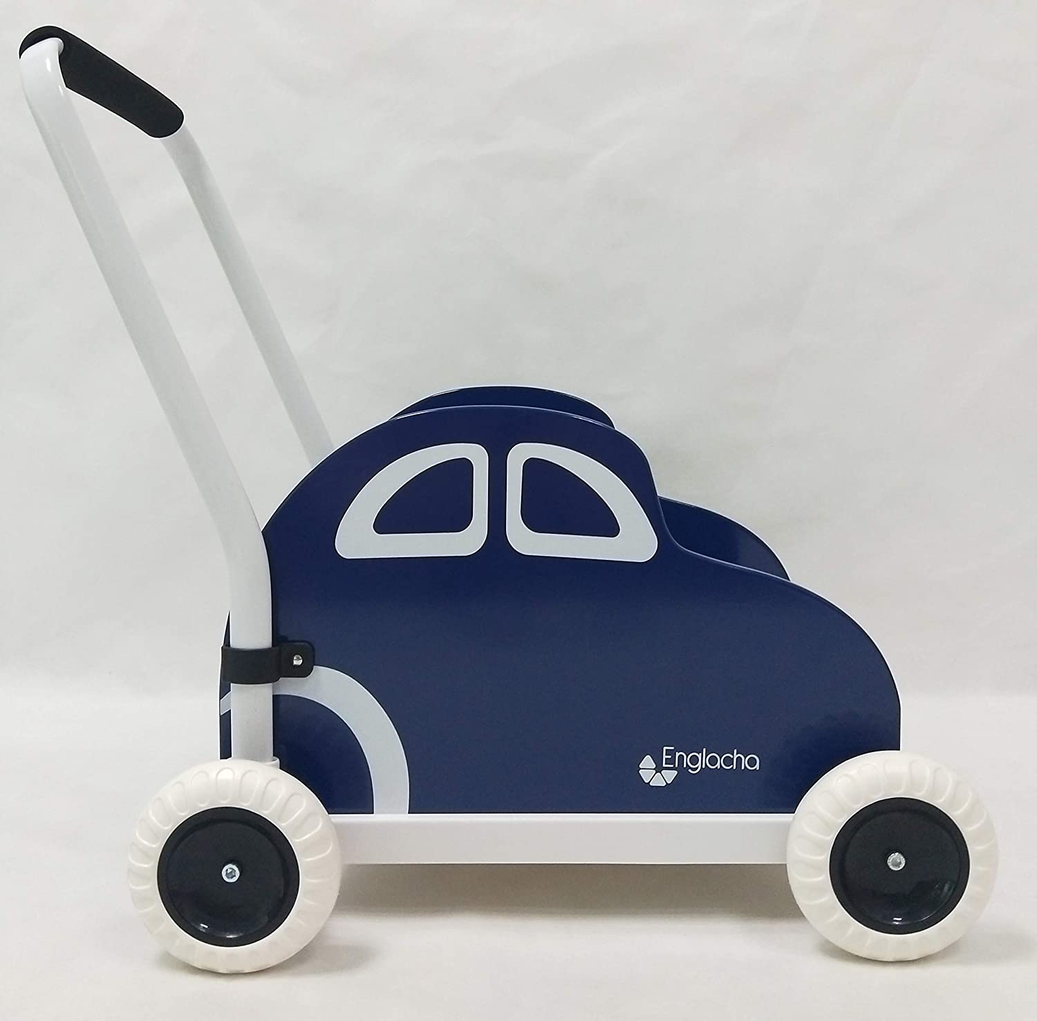 Englacha car Musical Toddler Walker, Baby Push Car with Built-in Musical Function and Speed Reduction Wheels, Blue/White