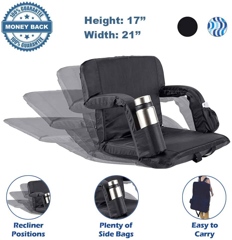 Stadium Seat for Bleachers Portable Reclining Stadium Seats with Back Support & Padded Cushion, Folding Chair with Armrests