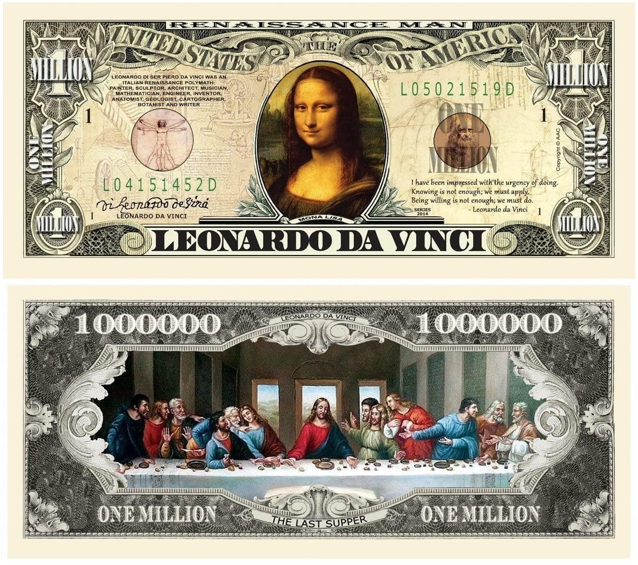 "25 Leonardo Da Vinci Million Dollar Bill with Bonus ""Thanks a Million"" Gift Card Set"