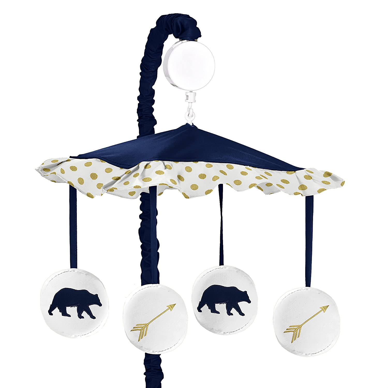 Navy Blue, Gold, and White Musical Baby Crib Mobile for Big Bear Collection by Sweet Jojo Designs