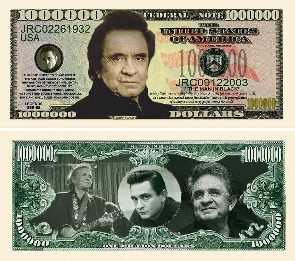 "50 Johnny Cash Million Dollar Bills with Bonus ""Thanks a Million"" Gift Card Set"