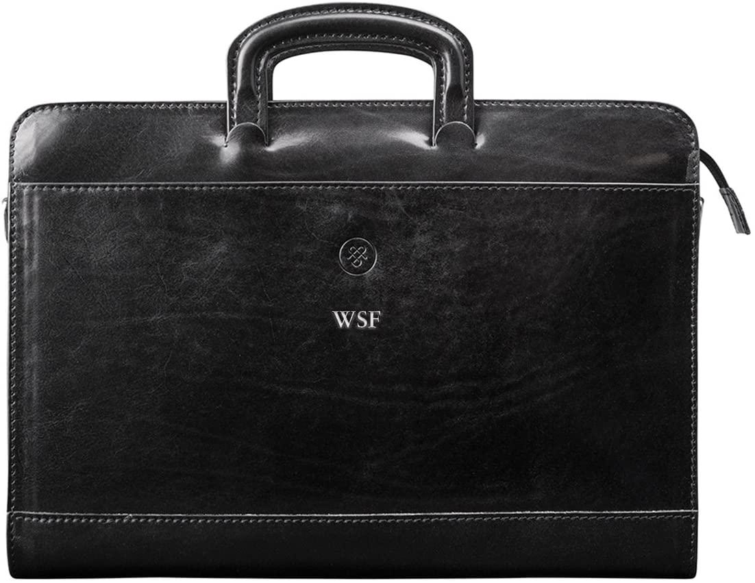 Maxwell Scott Personalized Men's Italian Leather Portfolio - Barolo Black