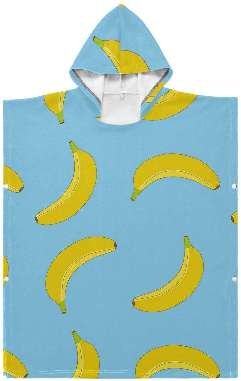 LORONA Kids Teens Polyester-Cotton Blend Banana Pattern Beach Towel Cloak Blanket Wearable Hooded Blanket Hoodie Cloak