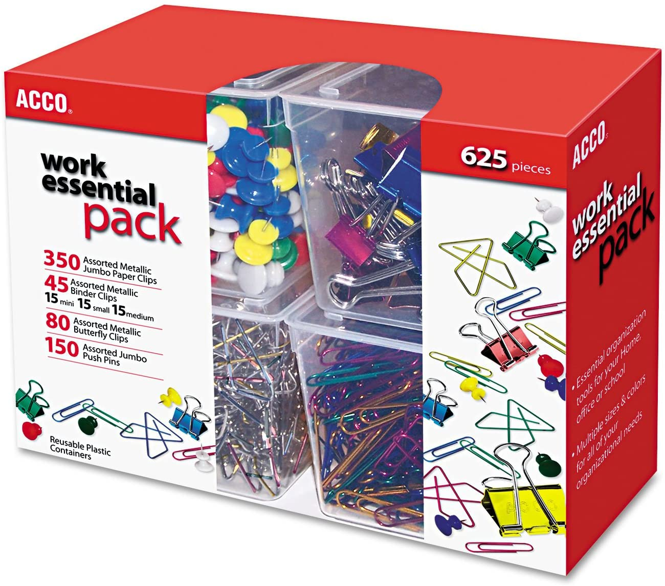 ACCO 76233 Club Clip Pack, 80 Ideal, 45 Binder, 350 Jumbo Paper Clips, 150 Push Pins