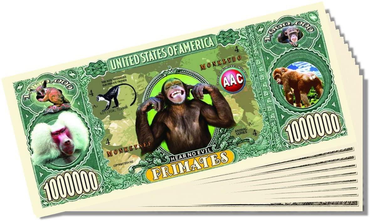 Primates Million Dollar Bill - Set of 25 With 1 Bonus Christopher Columbus Bill