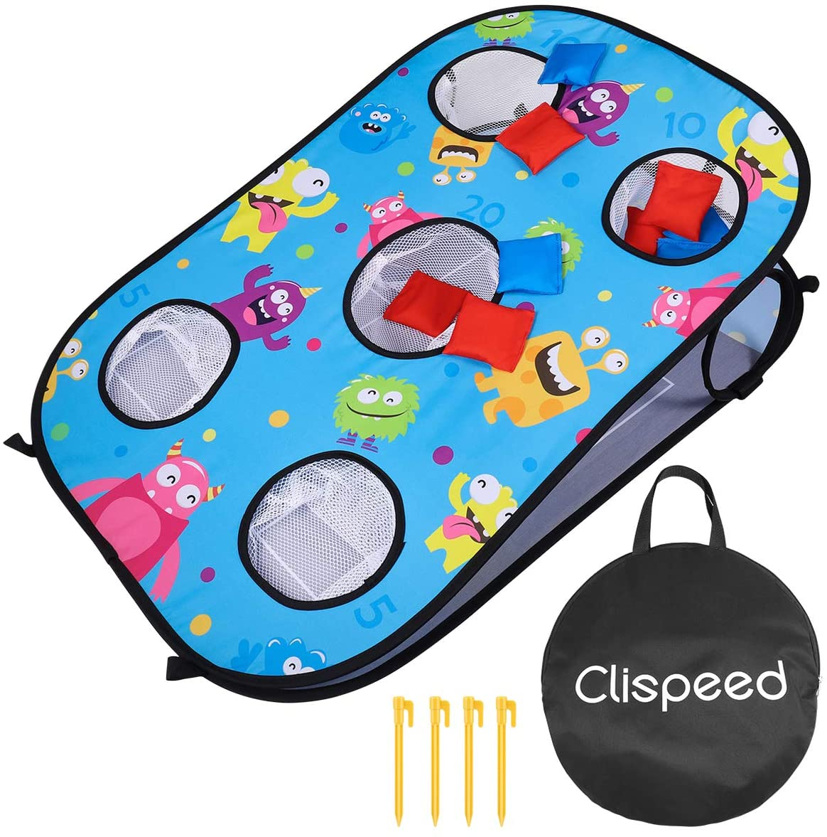 CLISPEED Collapsible Portable 5 Holes Cornhole Set Toss Game Tic Tac Toe Double Games Includes 10 Bean Bags (Bule, Single Board)