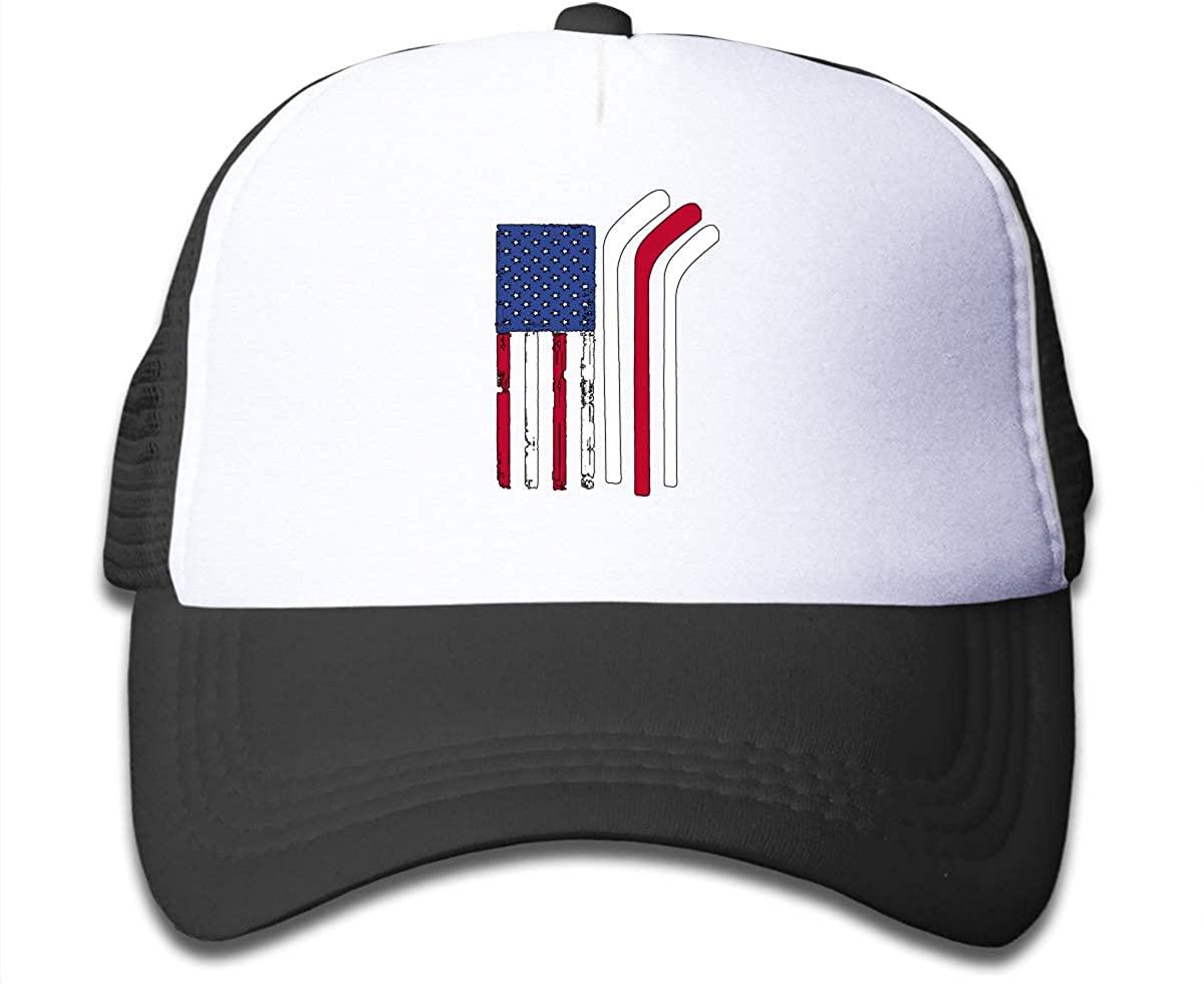 American Flag Made with Hockey Sticks Children's Adjustable Mesh Hats Baseball Trucker Cap for Boys and Girls